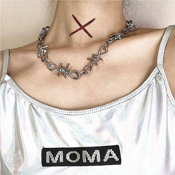 Barb Wire Chain Necklace Grunge eGirl Aesthetic