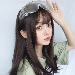 Black Brown Long Straight Hair Wig Korean Style 1 - Orezoria Aesthetic Outfits Shop - eGirl Outfits - Soft Girl Outfits