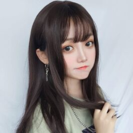 Black Brown Long Straight Hair Wig Korean Style 2 - Orezoria Aesthetic Outfits Shop - eGirl Outfits - Soft Girl Outfits