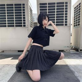 Black Cheongsam Crop Top eGirl Short Sleeve