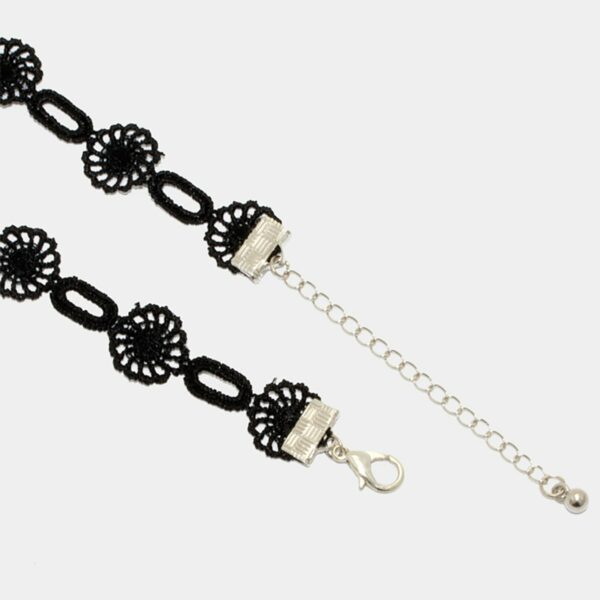 Black Laced Flower Chain Choker Necklace Band