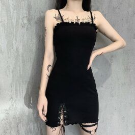 Black Leg Split Strings Dress Vintage Aesthetic