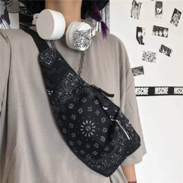 Black Paisley Pattern Chest Bag Fanny Pack