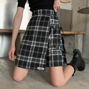 Black Pleated Grid Skirt Vintage High Waist