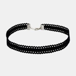 Black Ruffle Ribbon Choker Collar Necklace