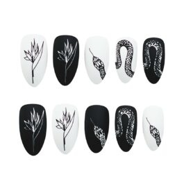 Black and White Snake Queen Nail Patch Stickers