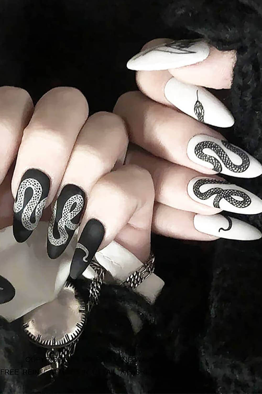 Black and White Snake Queen Nail Patch Stickers Pinterest