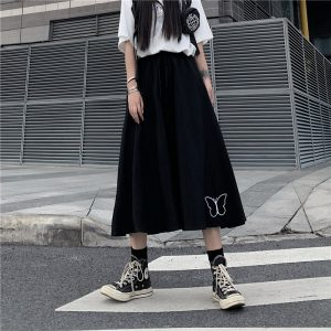 Butterfly Embroidery Long Skirt High Waist Vintage