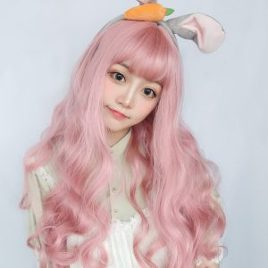 Candy Pink Long Wavy Wig Cute eGirl Aesthetic 1 - Orezoria Aesthetic Outfits Shop - eGirl Outfits - Soft Girl Outfits
