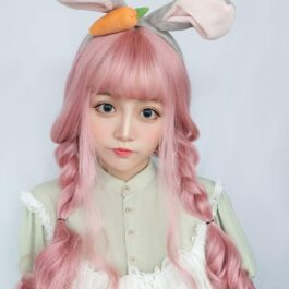 Candy Pink Long Wavy Wig Cute eGirl Aesthetic 2 - Orezoria Aesthetic Outfits Shop - eGirl Outfits - Soft Girl Outfits