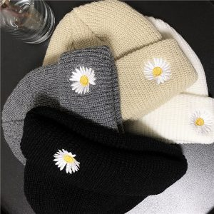 Chamomile Embroidery Beanie Hat