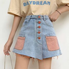 Color Pocket Denim Skort High Waist Soft Girl Aesthetic