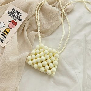 Cream Beige Beads Shoulder Bag Korean Style