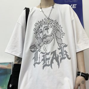 Crown of Thorns Crying Jesus T-Shirt Oversized Unisex