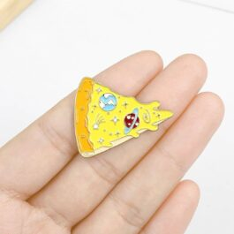 Cute Space Pizza Enamel Pin Badge