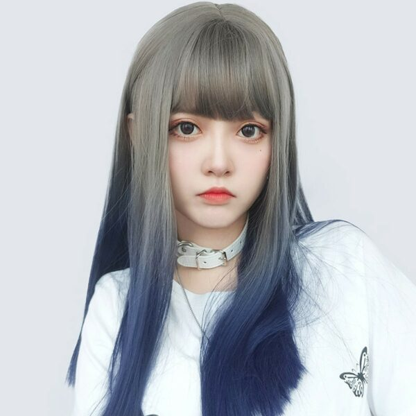 Dark Blue Blonde Gradient Hair Wig Korean Style 1 - Orezoria Aesthetic Outfits Shop - eGirl Outfits - Soft Girl Outfits