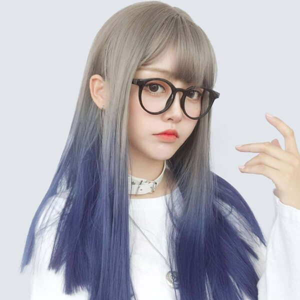 Dark Blue Blonde Gradient Hair Wig Korean Style 2 - Orezoria Aesthetic Outfits Shop - eGirl Outfits - Soft Girl Outfits
