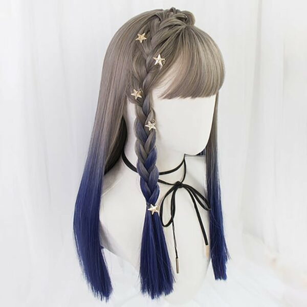 Dark Blue Blonde Gradient Hair Wig Korean Style 4 - Orezoria Aesthetic Outfits Shop - eGirl Outfits - Soft Girl Outfits