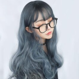Dark Cloud Blue Curly Hair Wig eGirl Aesthetic 1 - Orezoria Aesthetic Outfits Shop - eGirl Outfits - Soft Girl Outfits