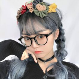 Dark Cloud Blue Curly Hair Wig eGirl Aesthetic 2 - Orezoria Aesthetic Outfits Shop - eGirl Outfits - Soft Girl Outfits
