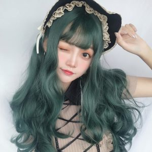 Dark Green Wavy Princess Hair Wig Cute Aesthetic 1 - Orezoria Aesthetic Outfits Shop - eGirl Outfits - Soft Girl Outfits