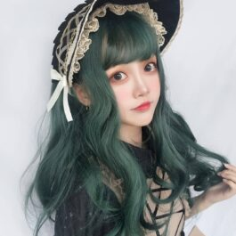 Dark Green Wavy Princess Hair Wig Cute Aesthetic 2 - Orezoria Aesthetic Outfits Shop - eGirl Outfits - Soft Girl Outfits