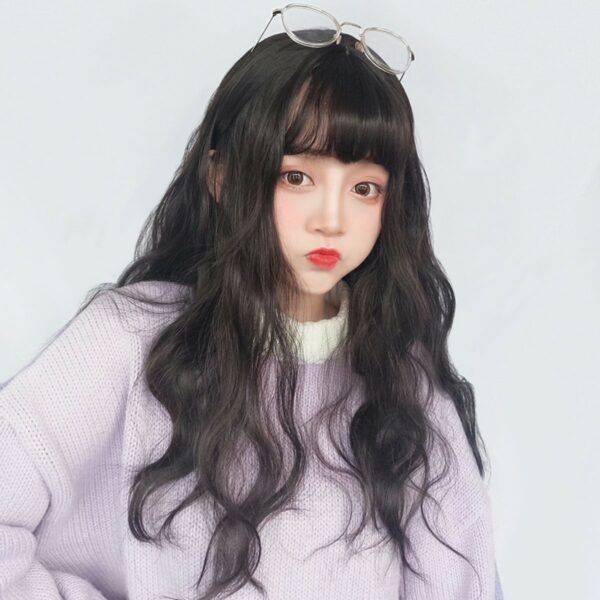 Dark Long Wavy Straight Bang Wig Korean Style 1 - Orezoria Aesthetic Outfits Shop - eGirl Outfits - Soft Girl Outfits