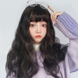 Dark Long Wavy Straight Bang Wig Korean Style 2 - Orezoria Aesthetic Outfits Shop - eGirl Outfits - Soft Girl Outfits