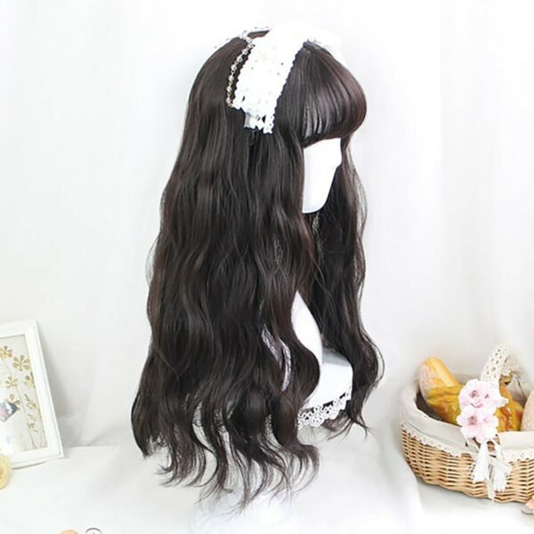 Dark Long Wavy Straight Bang Wig Korean Style 3 - Orezoria Aesthetic Outfits Shop - eGirl Outfits - Soft Girl Outfits