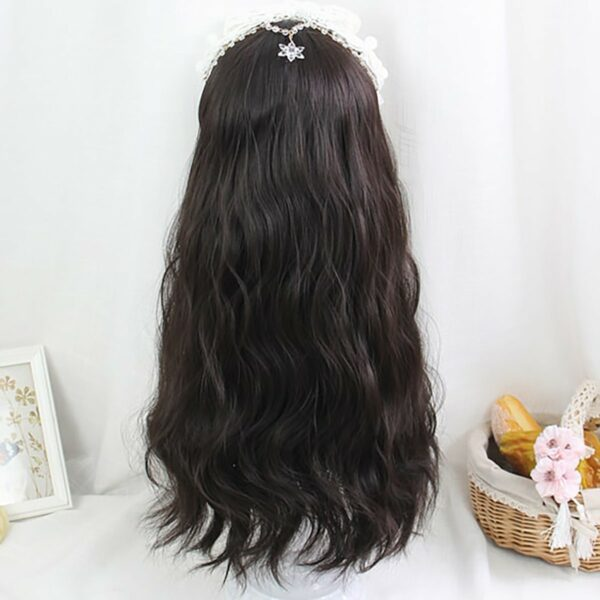 Dark Long Wavy Straight Bang Wig Korean Style 4 - Orezoria Aesthetic Outfits Shop - eGirl Outfits - Soft Girl Outfits