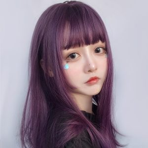 Dark Purple Straight Bang Hair Wig eGirl Aesthetic 1 - Orezoria Aesthetic Outfits Shop - eGirl Outfits - Soft Girl Outfits