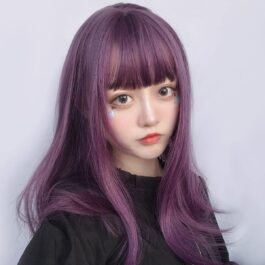 Dark Purple Straight Bang Hair Wig eGirl Aesthetic 2 - Orezoria Aesthetic Outfits Shop - eGirl Outfits - Soft Girl Outfits