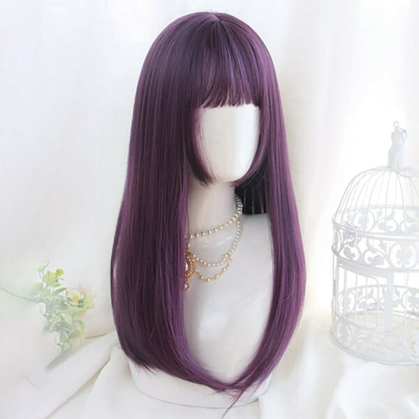 Dark Purple Straight Bang Hair Wig eGirl Aesthetic 3 - Orezoria Aesthetic Outfits Shop - eGirl Outfits - Soft Girl Outfits