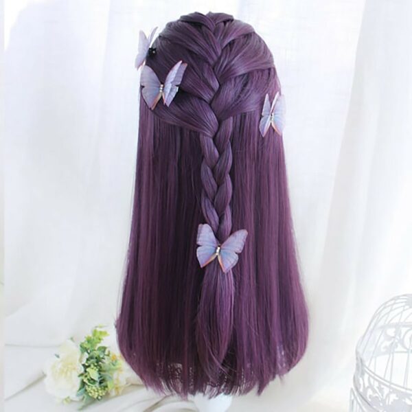 Dark Purple Straight Bang Hair Wig eGirl Aesthetic 4 - Orezoria Aesthetic Outfits Shop - eGirl Outfits - Soft Girl Outfits