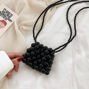 Deep Black Beads Shoulder Bag Korean Style