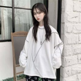 Design Stitching Sweatshirt Oversized Hong Kong Style