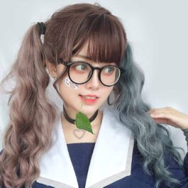 Double Color Gray Brown Curly Wig eGirl Aesthetic 1 - Orezoria Aesthetic Outfits Shop - eGirl Outfits - Soft Girl Outfits