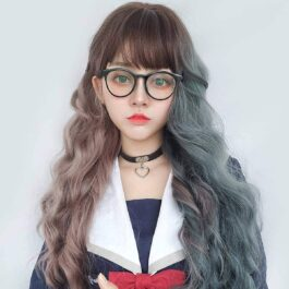 Double Color Gray Brown Curly Wig eGirl Aesthetic 2 - Orezoria Aesthetic Outfits Shop - eGirl Outfits - Soft Girl Outfits