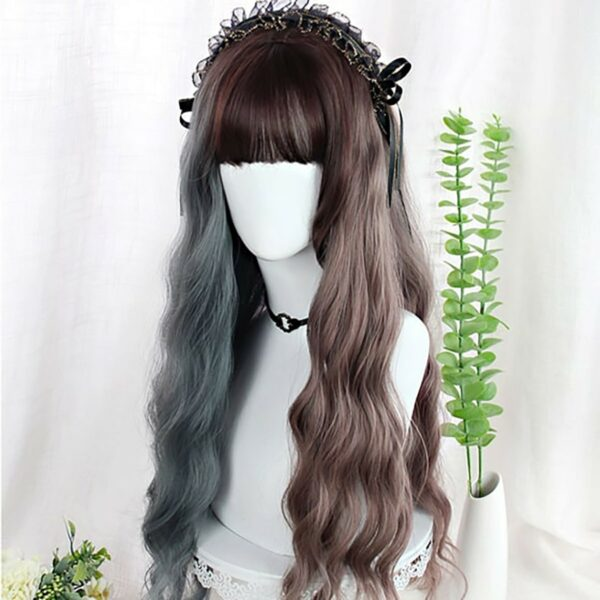 Double Color Gray Brown Curly Wig eGirl Aesthetic 3 - Orezoria Aesthetic Outfits Shop - eGirl Outfits - Soft Girl Outfits