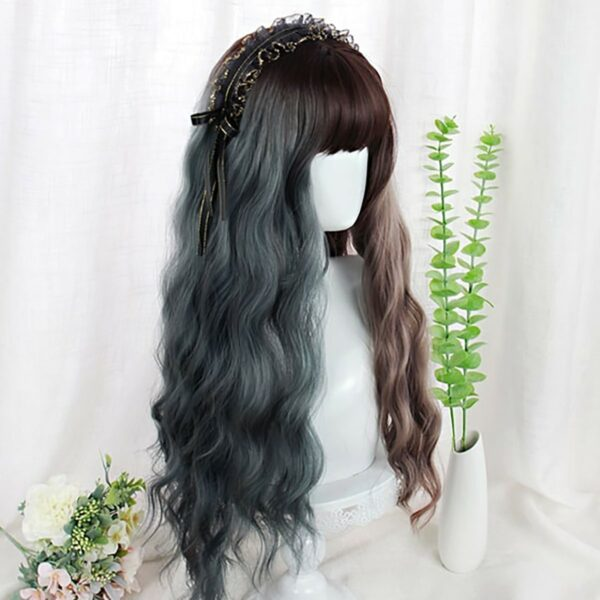 Double Color Gray Brown Curly Wig eGirl Aesthetic 4 - Orezoria Aesthetic Outfits Shop - eGirl Outfits - Soft Girl Outfits