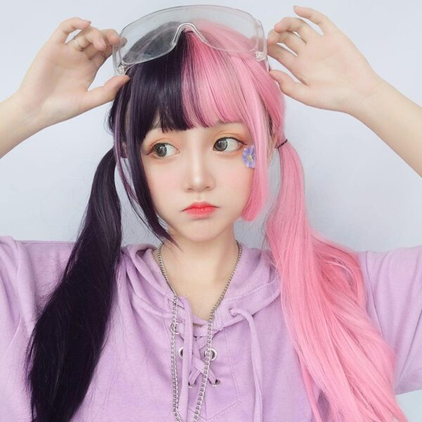 Double Color Pink Black Hair Wig eGirl Aesthetic 1 - Orezoria Aesthetic Outfits Shop - eGirl Outfits - Soft Girl Outfits