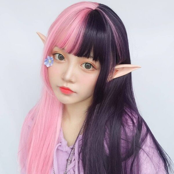 Double Color Pink Black Hair Wig eGirl Aesthetic 2 - Orezoria Aesthetic Outfits Shop - eGirl Outfits - Soft Girl Outfits