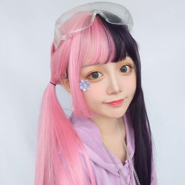 Double Color Pink Black Hair Wig eGirl Aesthetic 3 - Orezoria Aesthetic Outfits Shop - eGirl Outfits - Soft Girl Outfits