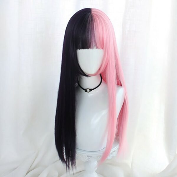 Double Color Pink Black Hair Wig eGirl Aesthetic 4 - Orezoria Aesthetic Outfits Shop - eGirl Outfits - Soft Girl Outfits