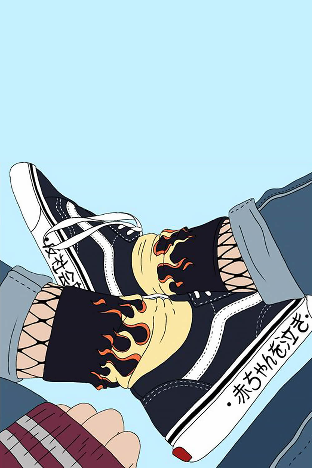Fire Flame Socks Black and Yellow High Ankle 0 Pinterest - Orezoria Aesthetic Clothing Shop