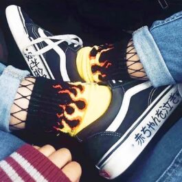 Fire Flames Socks Black and Yellow High Ankle