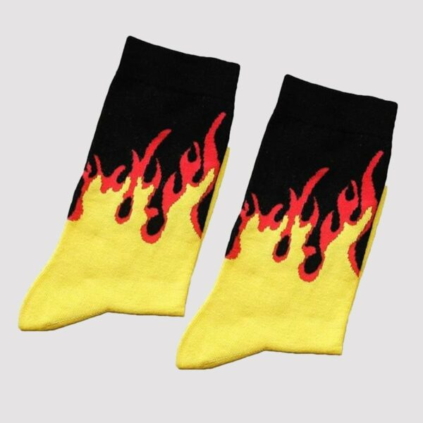 Fire Flame Socks Black and Yellow High Ankle