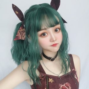 Forest Nymph Green Hair Wig eGirl Aesthetic 1 - Orezoria Aesthetic Outfits Shop - eGirl Outfits - Soft Girl Outfits