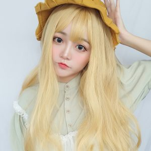 Golden Blonde Long Curly Hair Wig Soft Girl Aesthetic 1 - Orezoria Aesthetic Outfits Shop - eGirl Outfits - Soft Girl Outfits