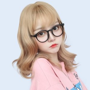 Golden Blonde Wavy Straight Bang Wig Cute Aesthetic 1 - Orezoria Aesthetic Outfits Shop - eGirl Outfits - Soft Girl Outfits